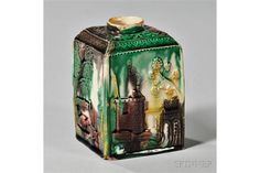 Cream-colored Earthenware Tea Canister, England, c. 1765, probably Staffordshire, square shape wi