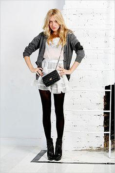 Chloe Sevigny - love white dresses + black tights
