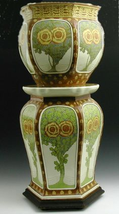 A Mintons 'Secessionist' jardiniere and stand