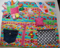 Candy Colors Fidget, Sensory, Activity Quilt Blanket by TotallySewn on Etsy