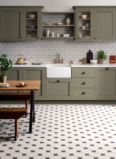kitchen tile floor Victorian Floor Tiles neednt be confined to hallways and front paths, theyre also extremely practical for kitchens too! Pair with traditional cabinetry and a belfast-style sink for a period kitchen setting that exudes style. Kitchen Sets, Home Decor Kitchen, Home Kitchens, Rustic Kitchen, Diy Kitchen, Modern Kitchens, Sage Kitchen, 10x10 Kitchen, Country Kitchen Designs