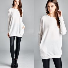 """Absent Traveller"" Soft Sweater Top Tunic Soft sweater top with front pockets. Available in heather grey and ivory. This listing is for the IVORY. Brand new. True to size. NO TRADES. Bare Anthology Tops Tees - Long Sleeve"
