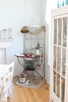 refurbished old door and some antique decor