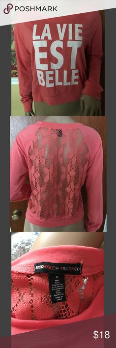 """Life is Beautiful"" Long Sleeve T-Shirt This shirt is super cute! It's very flowy because of the lace back and thinish material. It is a peachy pink with white letters that say ""Life is Beautiful"". jcpenney Tops Tees - Long Sleeve"
