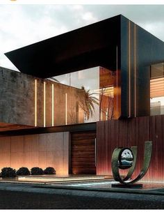 Modern House Facades, Modern Architecture House, Architecture Design, Villa Design, Facade Design, Exterior Design, House Front Design, Modern House Design, Luxury Homes Dream Houses