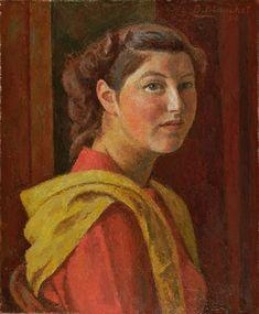 Alexandre Blanchet - Jeune fille au châle jaune, 1952 - Huile sur toile, 55 x 46 cm.