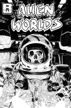 70sscifiart:  Skeletons in spacesuits Further information in the...
