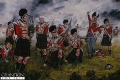 DHM504.  The Cameron Highlanders at Waterloo by Brian Palmer. <b><p>Signed limited edition of 1150 prints. <p> Image size 25 inches x 15 inches (64cm x 38cm)