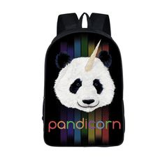 Funny Panda School Bag for Girls Boys 3D Cat Laptop Backpack Women Kawaii  mochila 16