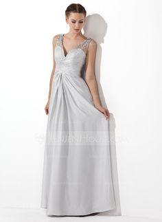 A-Line/Princess V-neck Floor-Length Satin Chiffon Prom Dress With Ruffle Beading (018004815)