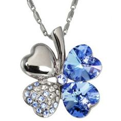 18k Gold Plated Swarovski Crystal Heart Shaped Four Leaf Clover Pendant Necklace - Aquamarine Blue $25.45
