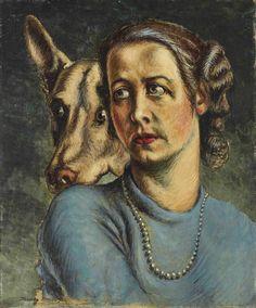 Alberto Savinio (1891-1952), La fedeltà, olio su tela applicata su cartoncino, cm 59,7x49,6, Eseguito negli anni Quaranta
