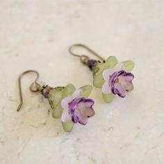 Green Lucite Earrings Green and Purple Earrings Lucite Flower Earrings Victorian Flower Earrings Designer Handmade Jewelry