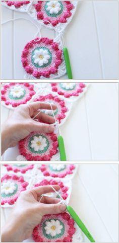 {Crochet} Daisy Wheel Granny Square Cushion + How to Join Granny Squares