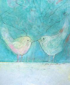 LOVE BIRDS art Original Pastel drawing birds by TeofanaART on Etsy