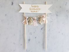 Cake Topper / Gold Calligraphy / Custom Hand Lettered/ Blush Pink Gold/ Made-To-Order/ Hand Made Mini Tassels / Bamboo Skewers / Birthdays / by LittleConfettiLove on Etsy https://www.etsy.com/listing/238189857/cake-topper-gold-calligraphy-custom-hand