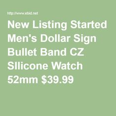 New Listing Started Men's Dollar Sign Bullet Band CZ SIlicone Watch 52mm $39.99