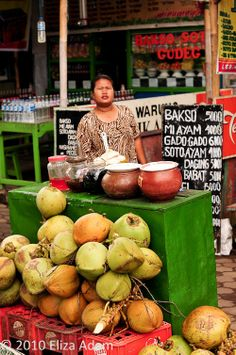 young coconut seller, Borobudur, Parmbanan, central Java, Indonesia