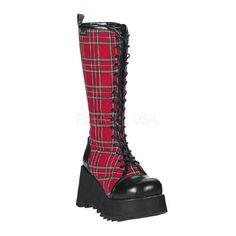 DEMONIA SCENE-100 Red Plaid-Black Pu Vegan Boots