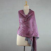Reversible silk shawl, 'Amethyst Teal'
