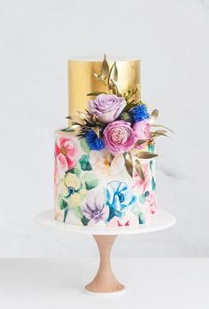 colorful wedding cakes 5 Wedding Cake and Dessert Makers You Can Get to Sweeten Your Big Day Page 2 Hi Miss Puff Metallic Wedding Cakes, Painted Wedding Cake, Big Wedding Cakes, Floral Wedding Cakes, Wedding Cake Rustic, Elegant Wedding Cakes, Elegant Cakes, Floral Cake, Beautiful Wedding Cakes