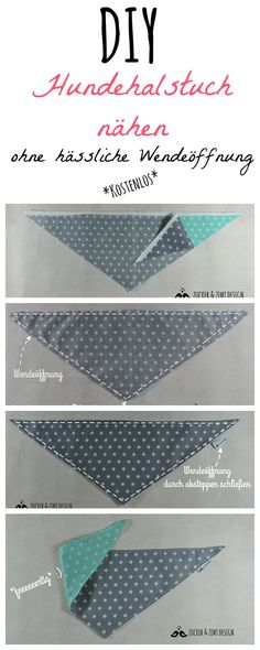 * Instructions * Dog neckerchief without unsightly turning opening - Free sewing instructions for a dog scarf without an ugly opening - Fabric Crafts, Sewing Crafts, Diy Tumblr, Cat Dog, Dog Costumes, Neckerchiefs, Baby Dogs, Dog Supplies, Free Sewing