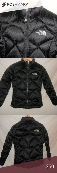 """The North Face Black 550 Girls Black Jacket Medium The North Face Black 550 Girls Down Hooded Jacket Youth Medium 10/12. The jacket is in really nice condition, there is one small stain on the inside near the collar. Other than that no damage, tears or rips.  Chest - 32"""" Length - 24"""" Arm Length - 20"""" The North Face Jackets & Coats Puffers"""