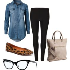 Fall Outfit inspiration for my chambray shirt, minus the ugly bag and the glasses. Fall Outfits For Work, Outfits For Teens, Spring Outfits, Casual Outfits, Cute Outfits, Winter Outfits, Look Fashion, Womens Fashion, Fashion Trends
