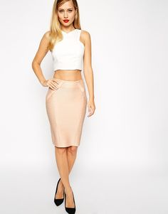 ASOS COLLECTION ASOS Pencil Skirt in Bandage Rib  |  ≼❃≽  @kimludcom