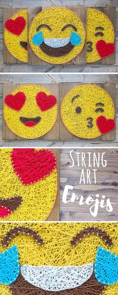 Modern and minimalist wall decor. Colorful String art Emoji decors - order a custom one or choose from existing ones!