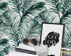 Green Watercolor Leaves Removable wallpaper/ Self-adhesive/ Regular wallpaper / Leaf Wallpaper