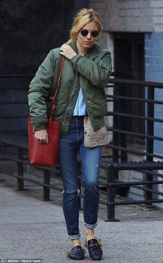 Sienna Miller goes for street chic in green bomber jacket and fur-trimmed loafers as she rocks an off-duty look in New York | Daily Mail Online