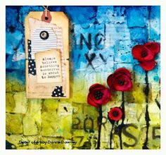 mixed media paint and collage by donna downey pan pastels tut