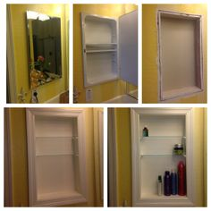 Converted metal medicine cabinet into open shelves...... I was literally just asking my brother the other day if this was possible! So doing this to all 3 bathrooms!!!!