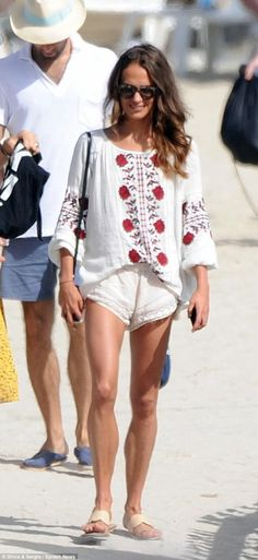 Legs eleven: Alicia Vikander proved her style credentials do not stop on the shores as she hit the beach alongside male model Jon Kortajarena in Ibiza on Thursday