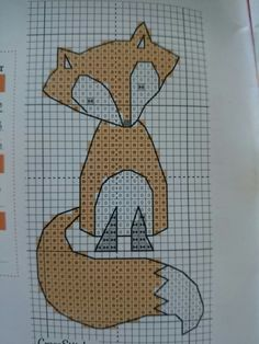 Fox Cross stitch Dmc - White - 310 -720 Anchor - 002 - 403 - 326 Stitch time - approx 4 hours