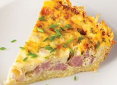 Hash Brown Quiche Lorraine: Patted into a pie pan and prebaked, frozen hash browns make a crispy, delicious and naturally gluten-free crust that matches perfectly with the ham and cheese filling of Quiche Lorraine.