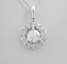 White Gold Diamond Pendant Halo Style 1/2ct Total Genuine in Solid 14K Gold 14kt White Gold by americanjewelryco, $520.00