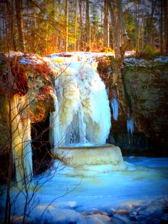 A frozen waterfall in Munising, Michigan in January, 2013. (iWitness weather user Ray Troumbly)