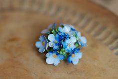 Ceramic Bouquet of tiny Blue flowers - Made in England Brooch