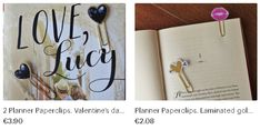Paperclips for your Planner, Journal, Books and Instagram photos! :D ON MY ETSY SHOP!!!