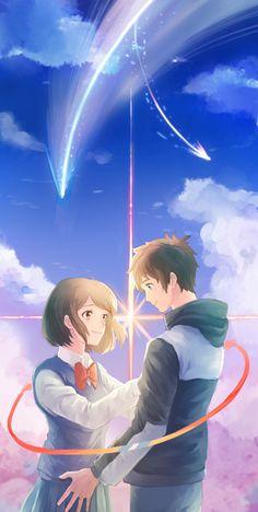 Kimi no Na wa. (Your Name. Cute Couple Art, Anime Love Couple, Cute Anime Couples, Mitsuha And Taki, Kimi No Na Wa Wallpaper, Your Name Wallpaper, Otaku, Anime Love Story, Your Name Anime