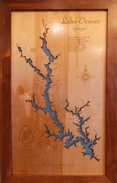 CA Map Standout WALL ART Wooden Cut Engraved Small LAKE HAVASU
