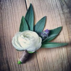 ranunculus, lavender and sage boutonniere by lovely little details