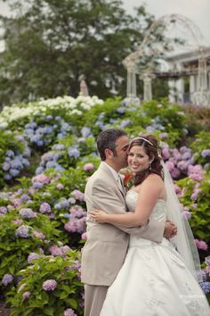 The hydrangeas were in full bloom for George & Carla's July wedding  Photo by Studio Foto  www.studiofoto.com