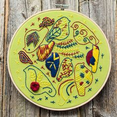 Birds and stitches hoop art, scandinavian birds embroidery, birds embroidery, different types of stitches, colorful embroidery by Stitchingnoob on Etsy