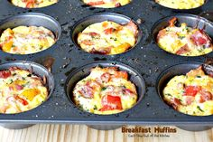 Breakfast Muffins make a savory, delectable holiday breakfast. Gluten free muffins contain bacon, eggs, cheese, bell peppers inside a hash brown crust. Baked Breakfast Recipes, Easy Brunch Recipes, Fun Baking Recipes, Breakfast Muffins, Breakfast Dishes, Cooking Recipes, Breakfast Ideas, Egg Muffins, Breakfast Bake