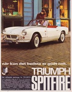 """When only the best is good enough"" Triumph Spitfire Denmark 1966                        www.tssc.org.uk"
