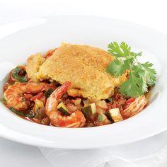 Chili Cornbread Casserole, Casserole Recipes, Chili Shrimp, Shrimp And Vegetables, Frozen Shrimp, One Pot Dishes, Sea Food, Seafood Dishes, Shrimp Recipes