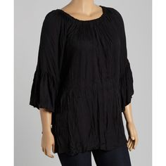 ETC Black Crinkled Bell-Sleeve Top ($20) ❤ liked on Polyvore featuring plus size women's fashion, plus size clothing, plus size tops, plus size, bohemian style tops, boho tops, crinkle top, long tops and bell sleeve top